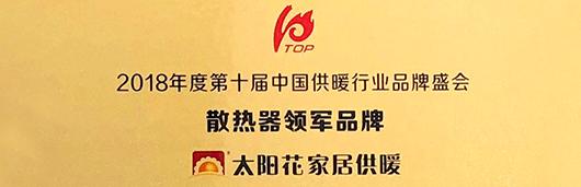 """荣耀时刻!太阳花摘得慧聪网""""2018年散热器领军品牌"""""""